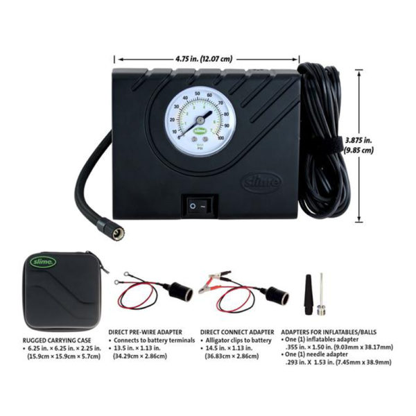 Slime Tyre Inflator With Integrated Guage